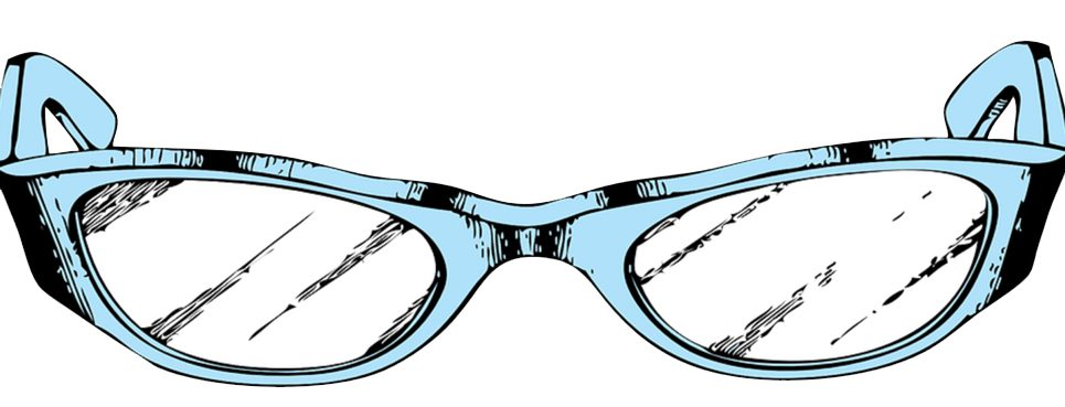 A pair of light blue eyeglasses frames